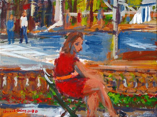 Woman With Orange Belt  Print by Edward Ching