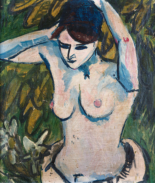 Woman With Raised Arms Print by Ernst Ludwig Kirchner