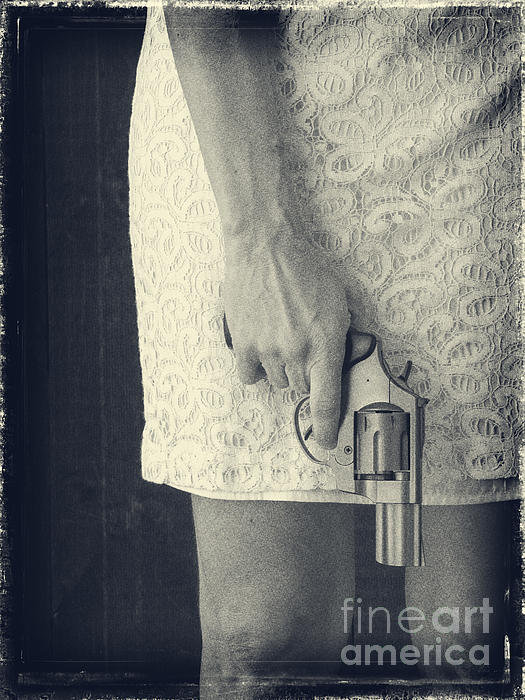 Woman With Revolver Print by Edward Fielding