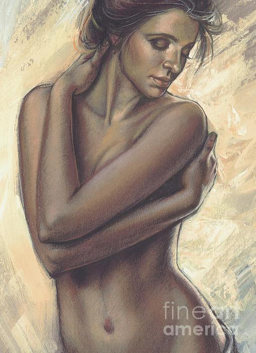 Woman With White Drape Crop Print by Zorina Baldescu