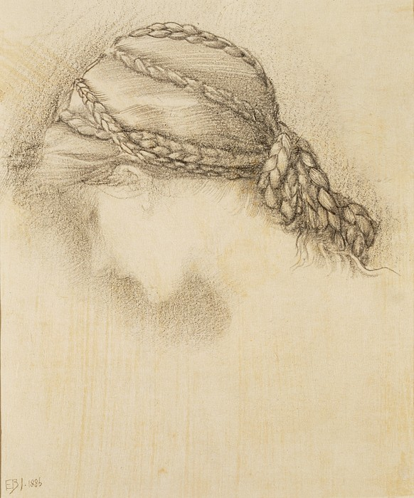 Womans Head, Detail From A Sketchbook Print by Sir Edward Coley Burne-Jones