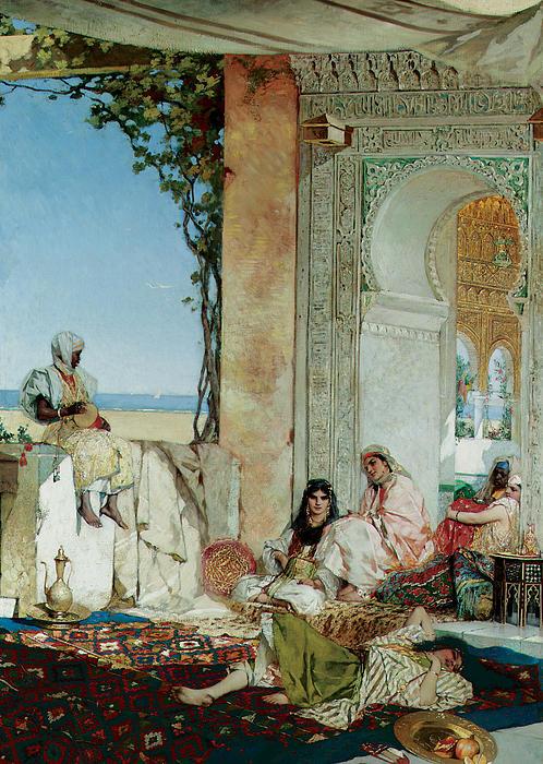 Women Of A Harem In Morocco Print by Jean Joseph Benjamin Constant