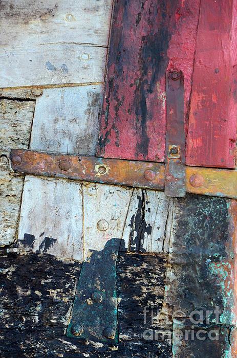 Wood And Metal Abstract Print by Jill Battaglia