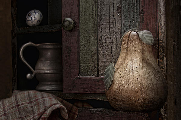 Wooden Pear Still Life Print by Tom Mc Nemar
