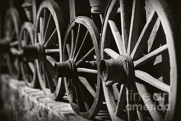 Wooden  Wagon Wheels Print by Martin Dzurjanik
