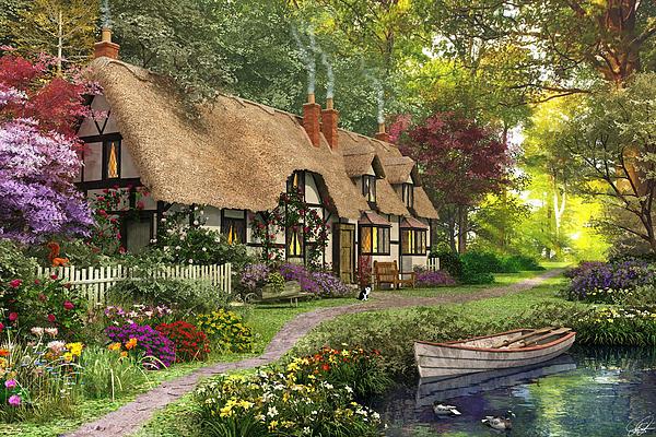 Woodland Walk Cottage Print by Dominic Davison