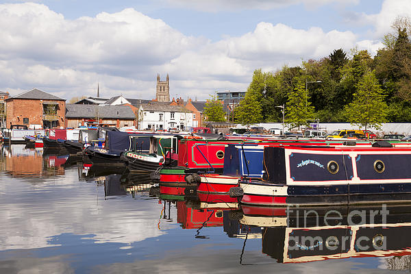 Worcester Diglis Basin Narrow Boats Print by Colin and Linda McKie