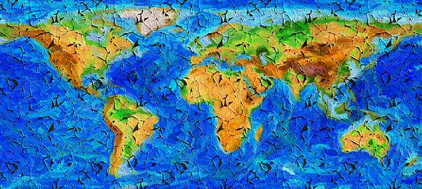 Lilia D - World map - cracked paint oil painting