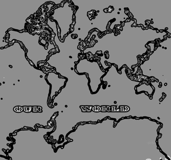 World Map Abstract Black And Grey Print by Eti Reid