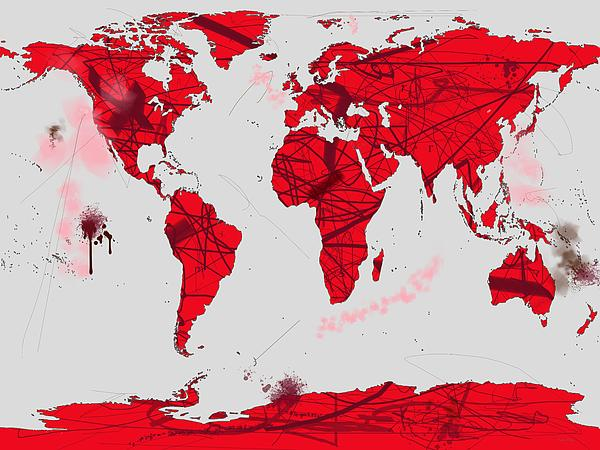 World Map Calligraphy Print by Andre Pillay