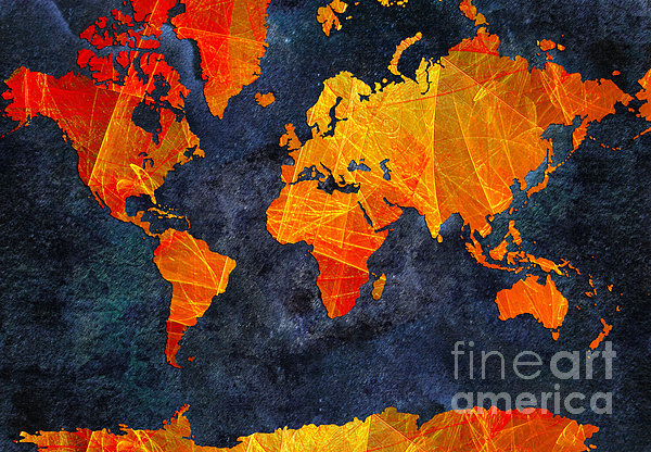 World Map - Elegance Of The Sun - Fractal - Abstract - Digital Art 2 Print by Andee Design
