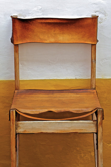 David Letts - Worn Leather Outdoor Cafe Chair