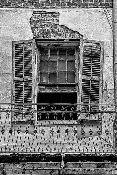 Worn Window - Bw Print by Christopher Holmes