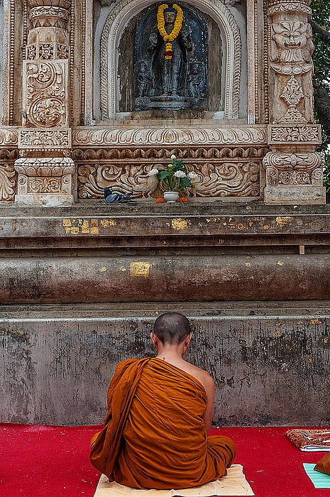 Worshiping Budha Print by Mukesh Srivastava