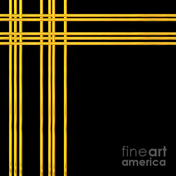 Woven 3d Look Golden Bars Abstract Print by Rose Santuci-Sofranko