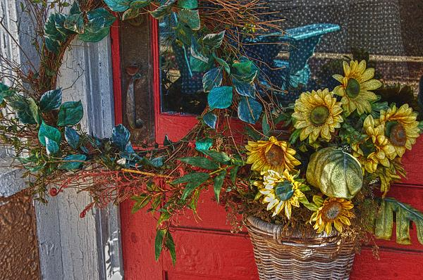 Wreath And The Red Door Print by Michael Thomas