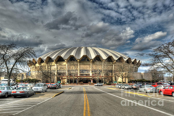 Wvu Basketball Coliseum Arena In Daylight Print by Dan Friend