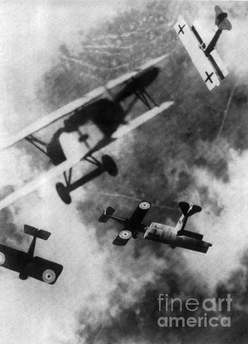 Wwi German British Dogfight Print by Nypl