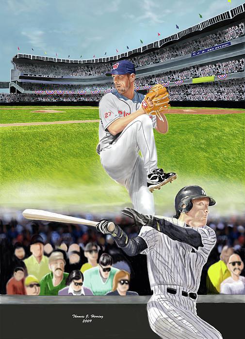 Yankees Vs Indians Print by Thomas J Herring