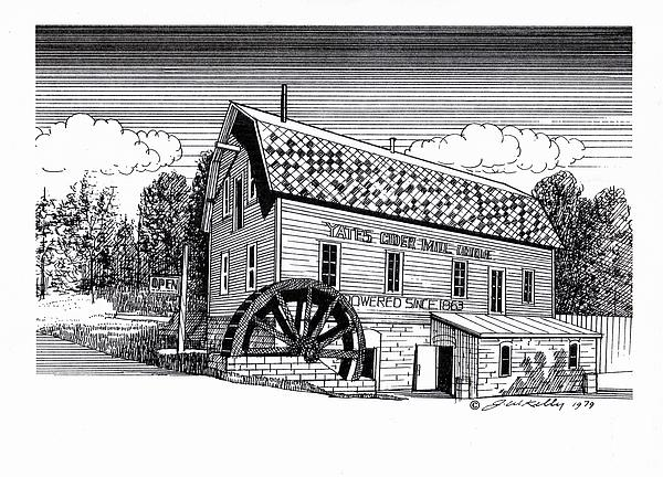 Yates Cider Mill Print by J W Kelly