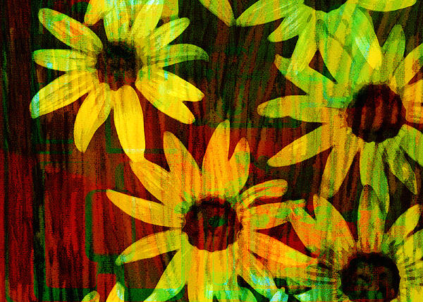 Yellow And Green Daisy Design Print by Ann Powell