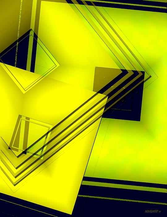 Yellow Art With Lines And Transparency Print by Mario  Perez
