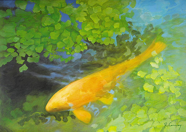 Yellow Carp In Green Print by Robert Conway