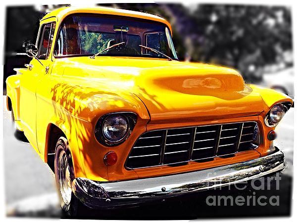 Yellow Chevy Print by Garren Zanker
