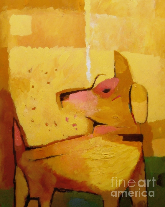 Yellow Dog Print by Lutz Baar