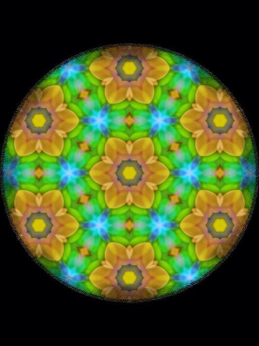 Yellow Flower Mandala Print by Karen Buford