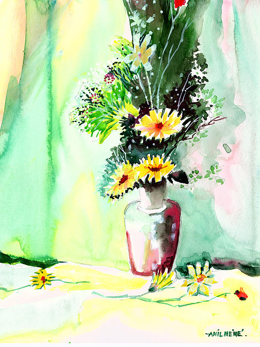 Yellow Flowers 1 Print by Anil Nene