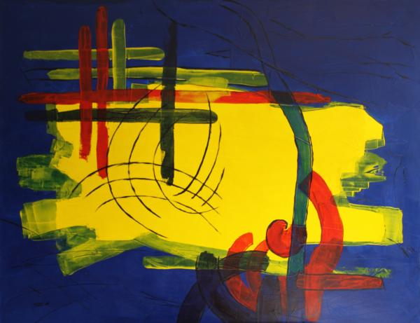 Yellow Island On Blue Print by Christiane Schulze Art And Photography