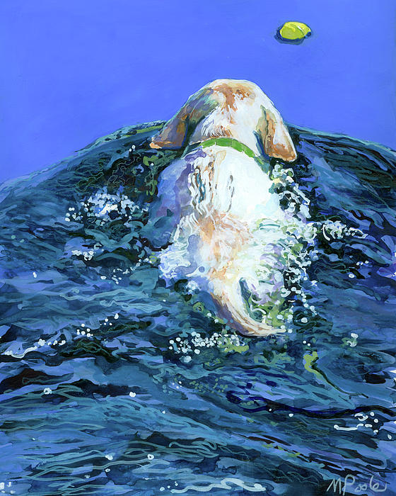 Yellow Lab  Blue Wake Print by Molly Poole
