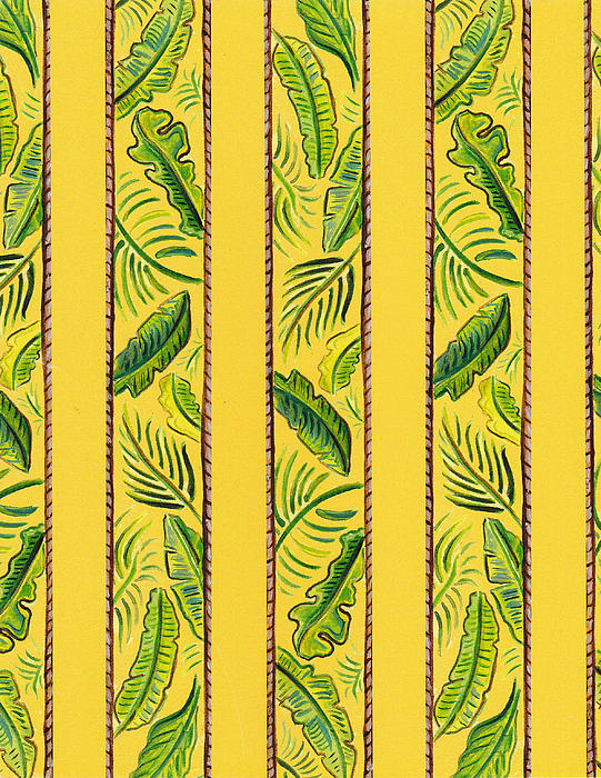 Yellow Striped Palms Textile Pattern Print by John Keaton