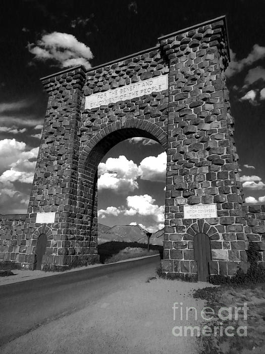 Yellowstone National Park Gate - Black And White Print by Gregory Dyer