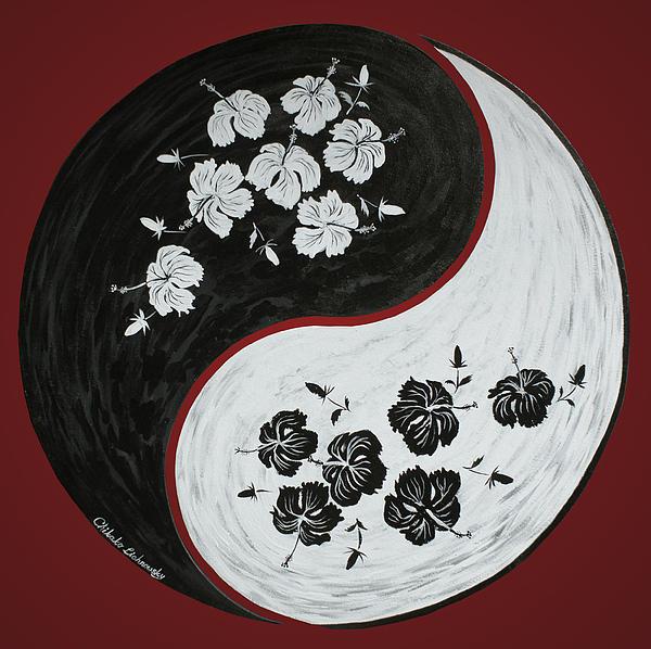 Yin And Yang Of Hibiscus Print by Chikako Hashimoto Lichnowsky