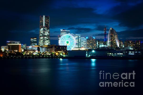 Yokohama Minatomirai At Night Print by Beverly Claire Kaiya