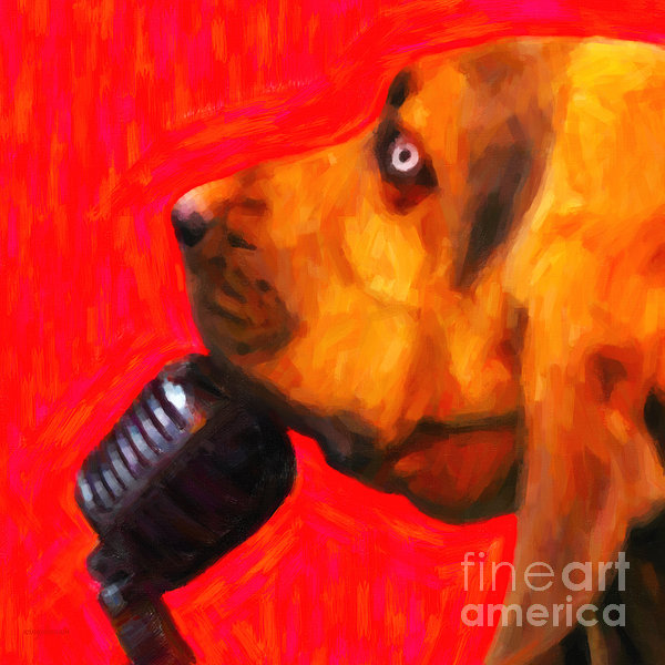 You Ain't Nothing But A Hound Dog - Red - Painterly Print by Wingsdomain Art and Photography