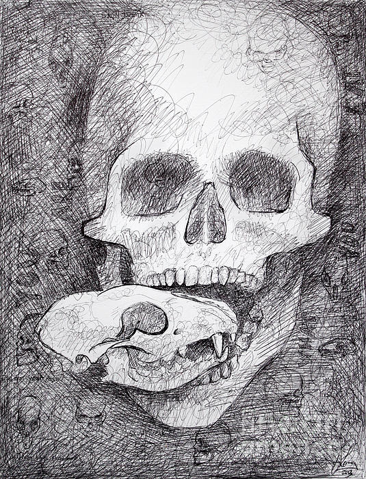 You Are What You Eat Skull Drawing Print by Adam Long