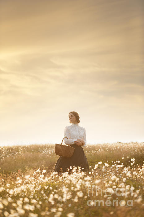 Young Edwardian Woman In A Meadow Print by Lee Avison