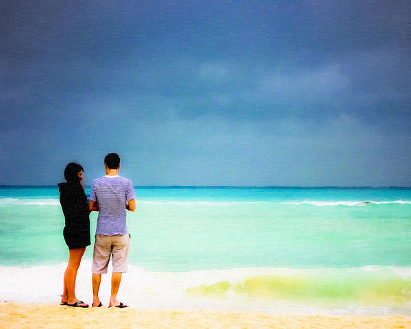 Young Love And The Stormy Sea Print by Mark Tisdale