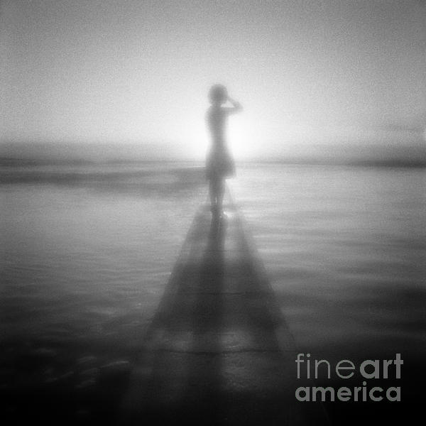 Young Woman By Pool At Sunrise Print by Colin and Linda McKie