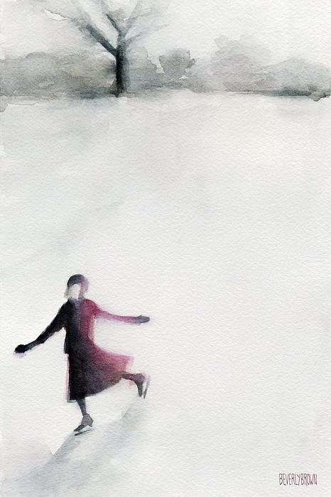 Young Woman Ice Skating Watercolor Painting Print by Beverly Brown Prints