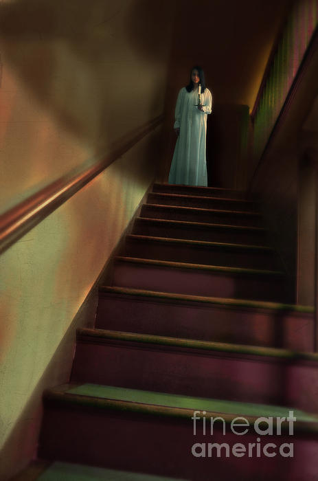 Young Woman In Nightgown On Stairs Print by Jill Battaglia