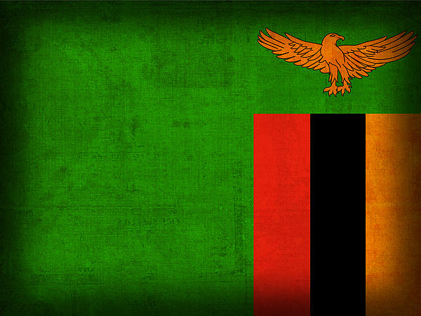 Zambia Flag Distressed Vintage Finish Print by Design Turnpike