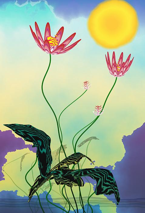 Zen Flowers Print by GuoJun Pan
