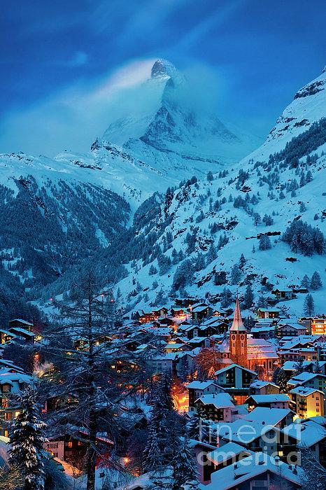 Zermatt - Winter's Night Print by Brian Jannsen
