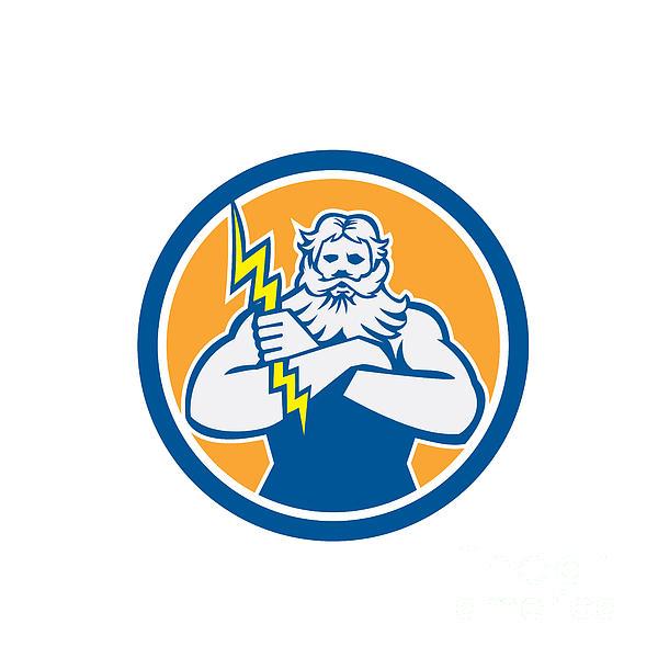 Zeus Greek God Arms Cross Thunderbollt Circle Retro Print by Aloysius Patrimonio