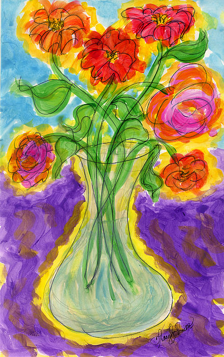 Zinnias And Roses Print by Tracy Smith