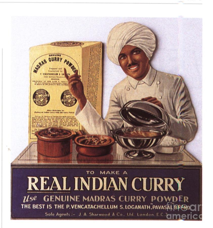 1910�s Drawing -  1910s Uk Indian Food Curry Warning - by The Advertising Archives